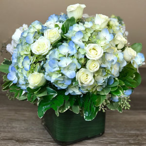 Blue Hydrangea and White Spray Roses