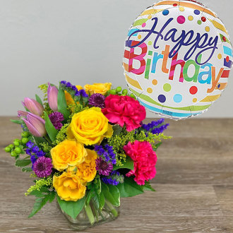 Celebrate Birthday Bouquet with Balloon