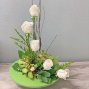 Ivory and Emerald Orchid and Rose Bouquet