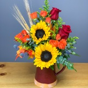 Fall Pitcher With Sunflowers and Roses