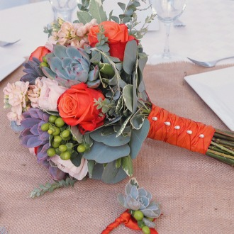 Bridal Bouquet and Boutonniere Succulents and Orange Roses