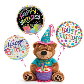 Birthday Bear With 3 Balloons