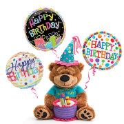 Birthday Bear With 3 Balloons