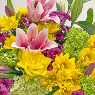 Spring Vase Arrangement With Pink Lilies