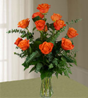 Dozen Long Stem Orange Roses