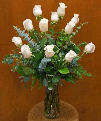Dozen Creamy White Roses