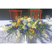 Blue, White and Yellow Head Table Centerpiece