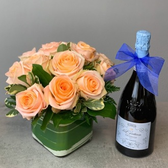 Dozen Peach Roses with Prosecco