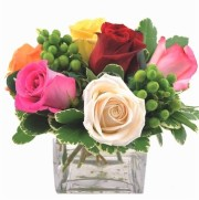 Mixed Colored Roses In Cube Vase