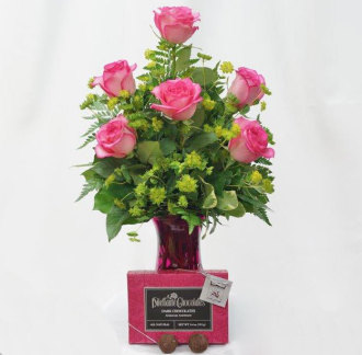Pink Roses with Dilettante Chocolates