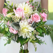 Pink and White Bridal Bouquet with Pink Roses