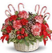 Candy Cane Christmas Flower Basket