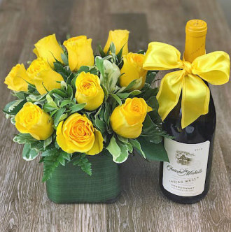 Yellow Rose Bouquet with Chardonnay