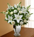 ALL WHITE ARRANGEMENT IN A SILVER VASE