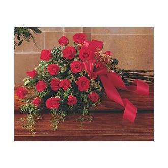 RED ROSE TRIBUTE CASKET SPRAY
