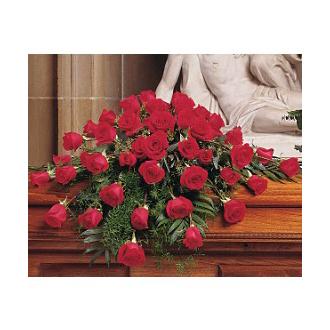 BLOOMING RED ROSES CASKET SPRAY