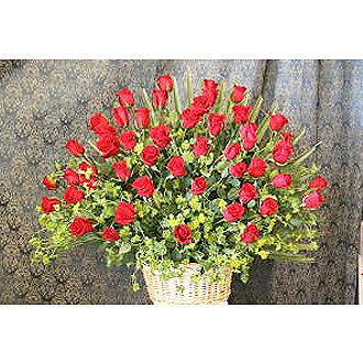4 Dozen Red Roses in a Basket
