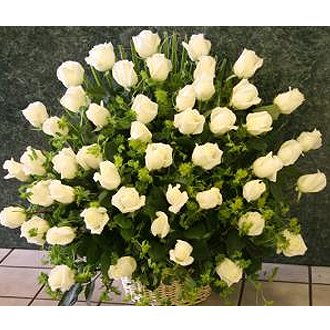 4 Dozen White Roses in the Basket