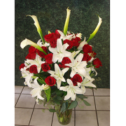 Red roses White Lilies Classic Arrangement