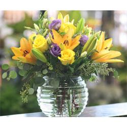 Mixed floral bubble bowl arrangement