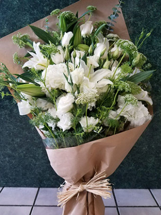 Brown Paper Bouquet White