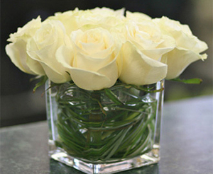Cube of White Roses