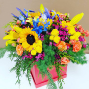 la bright spice flower box arrangement