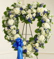 Always Remember Floral Heart Tribute-Blue & White