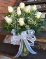 Dozen White Roses with Babys Breath