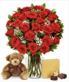 ONE DOZEN ROSES_ Bear_ Chocolates _