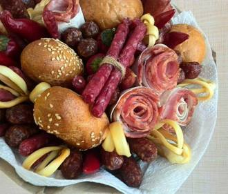 Gourmet meat and cheese bouquet