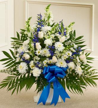 Funeral Basket Blue & White