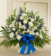 Funeral Basket Blue & White