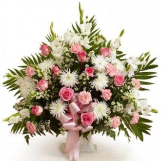 Funeral Basket Pink & White