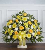 Funeral Basket Yellow & White