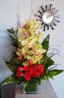Cymbidium Orchid & Rose Cube