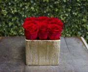 Nine Roses Arrangement Gold Base Preserved Roses