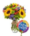 The Beautiful Birthday Bouquet with Balloon