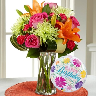 The Starshine Bouquet with Happy Birthday Balloon