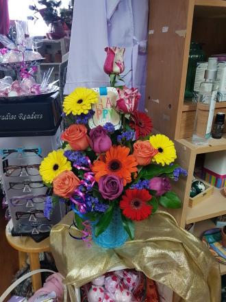 birthday roses in Hallmark ceramic blue container