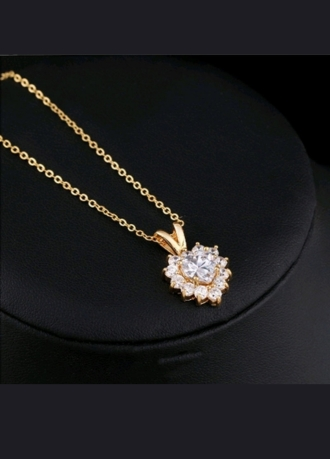 18K Necklace Gold Chain link yelow white zironia heart pendant
