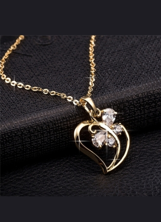 Butterfly Heart shape 18K Yellow Gold filled pendant