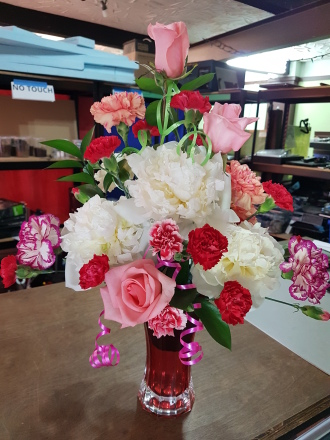 Pretty Peonies in white red and pink