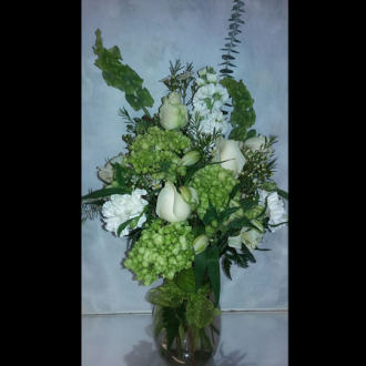 HF Spring Green White Vase