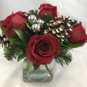 6 Rose Centerpiece - Holiday Fancy
