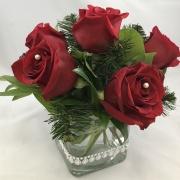6 Rose Centerpiece - Holiday Glam