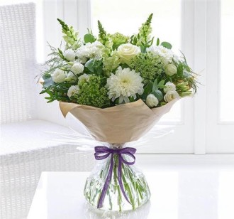 Green And White Beauty Hand-Tied Bouquet