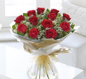 Heavenly Red Rose Hand-Tied Bouquet