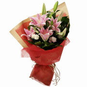 MGM Gift-wrapped Pink Lily Bouquet