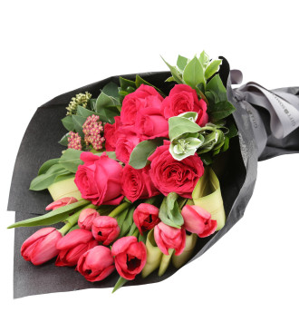 MGM Gift-Wrapped Roses & Tulips Bouquet
